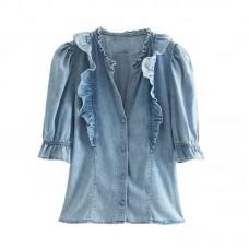 Ruffle Denim  Shirt