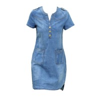 Plus Size Mini Denim Dress